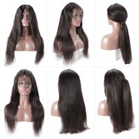 Wholesale brazilian human hair wig middle part resale online - Brazilian Straight Human Hair Wigs With Baby Hair Middle Part Lace Front Wigs For Black Women Fairgreat Hair Wigs