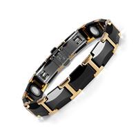 ingrosso braccialetto nero di tungsteno per le donne-New Black Ceramic acciaio di tungsteno fascino Health Care I braccialetti magnetici di collegamento per le donne con colore Oro