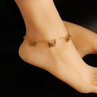cadenas de tobilleras para zapatos al por mayor-Sandalias descalzas para los zapatos de boda más caliente de la cadena Anillo Estiramiento de la punta de oro Sandel Tobillera rebordear la dama de honor nupcial del pie joyería