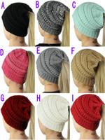 Wholesale free girls hats crochet for sale - Group buy 2018 color ponytail hat women s crochet winter warm hat women s knit hat