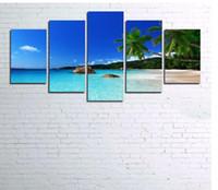 pinturas do sol venda por atacado-Arte da parede Decoração Sala de estar Estrutura 5 Peças de Água Do Mar Palmeiras Sunshine Seascape Modular Pinturas Canvas Fotos HD Prints Sem moldura