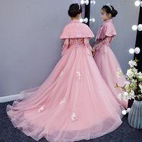 ingrosso modelli di coda di fiori-Vestito da sposa della ragazza Pengpeng filato drag-tail bambini host sera vestito da principessa spettacolo modello fiore bambino costumi