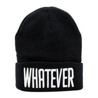 ingrosso beanie snapback-Winter Black Whatever Beanie Hat e Snapback Men And Women Cap # Nov29
