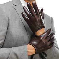 lederhandschuhe kurzfinger großhandel-Echtes Leder Männer Handschuhe Mode Lässig Schaffell Handschuh Schwarz Braun Fünf Finger Kurze Stil Männliche Fahrhandschuhe M017PQ