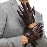 guantes de cuero marrón al por mayor-Hombres de cuero genuino Guantes Moda Casual Guante de piel de oveja Negro Marrón Cinco Dedos Estilo Corto Masculino Guantes de Conducción M017PQ