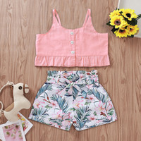 Wholesale 4t vest resale online - Girl Sling Vest Outfits Solid Lotus Leaf Tops Print Bow Sash Shorts Two Piece Set Kids Casual Clothes Girls Girl Clothes T