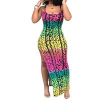 ingrosso abbigliamento boho vintage-Abito lungo con stampa boho Graffiti Abito elegante per donna con maniche a fascia vintage Vestidos senza spalline