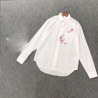 Wholesale white blouse for ladies summer for sale – plus size Fashion Blouses For Women Office Lady Top Elegant Full Sleeve Embroidery Blouse Summer Fashion Women New Blouse