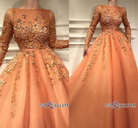 Wholesale crystal illusion sleeves quinceanera for sale - Group buy Newest Orange Bateau Long Sleeve A line Prom Dress Sexy Handmade Flowers Evening Quinceanera Ball Gown Formal Party Dresses BC2054