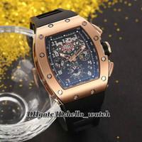 часы felipe massa оптовых-Новый RM011 черный скелетон Felipe Massa Flyback Автоматические мужские часы из розового золота с черным каучуковым ремешком Мужские спортивные часы hello_watch