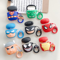 Wholesale 3d batman case cover online – custom Cute League of legends Cartoon D silicone earphone case For Apple airpods Protective Cover Superman Batman Spiderman simple opp