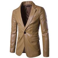 blazers de couro vermelho venda por atacado-Masculino Primavera Jaqueta Casual Slim Motocicleta Faux Leather Suit Homme Vermelho PU de Couro Vestido de Blazers Homens Nova Marca de Casamento