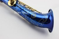 Wholesale saxophone paintings resale online - High Quality Suzuki B Flat Soprano Saxophone Paint Gold Key Straight Tube Unique Blue Sax Top Musical Instruments