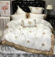 königin blätter ägyptische baumwolle großhandel-Luxus 100% ägyptischer Baumwolle Bettwäsche Set Kingsize Designer Bettwäsche Bettwäsche Queen Bettbezug Set ägyptischer Baumwolle Bettlaken