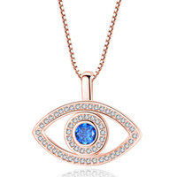 Wholesale blue evil eye pendant for sale - Group buy Blue Evil Eye Pendant Necklace Luxury Crystal CZ Clavicle Necklace Silver Rose Gold Jewelry Third Eye Zircon Necklace Fashion Birthday Gift