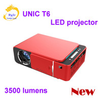 Wholesale home theater lumens for sale - Group buy 2019 Original T6 x720 LED Projector lumens Short throw projector Keystone correction USB HDMI VGA AV Home Theater entertainment