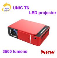 kısa hdmi toptan satış-2019 Orijinal T6 1280x720 LED Projektör 3500 lümen Kısa mesafeli projektör Keystone düzeltme USB HDMI VGA AV Ev Sineması eğlence