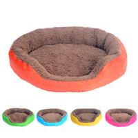 grande esteira de estimação venda por atacado-4 cores Dog Pet Bed Inverno Quente casota para Pequenas Grande Ninho Dogs macio Pet Kennel Cat Sofá Mat Animais Pad Pet Shop S / M / L