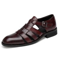 Wholesale handmade dress shoes for men for sale - Group buy Italian style Fashion Genuine leather sandals for men Business Dress sandals Handmade Leather shoes men sandalias Big Size T200420