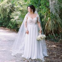 Wholesale floor length chiffon skirt for sale - Lace and Chiffon Wedding Dresses Plus Size Sheer Bodice V Neck Long Sleeves Bridal Gowns Sexy High Split Backless Beach Wedding Dress Cheap