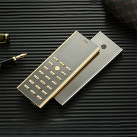 Wholesale golden cell phones online – Luxury metal body dual sim Card key cell phone Fashion Design Small mini card GSM senior Golden Unlocked Signature Steel Mobile phone