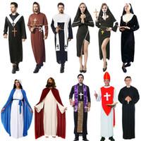 ingrosso costume cosplay del prete-Costume da prete di Gesù Cristo Cosplay di Halloween Set di abbigliamento da missionario di Gesù Cristo Set di abiti da mago tinta unita Set di costumi da sorella Maria 06