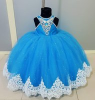Wholesale birthday cute photo for sale - Group buy Cute Silver Diamand Flower Gilr Dresses For Wedding Lace Applique High Collar Ball Gown Birthday Dress For Girls Party Graduation Gowns