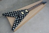 Wholesale black guitar customize for sale - Group buy Factory Black V Type Electric Guitar with White Dots Chrome Hardwares Rosewood Fretboard Offer Customized