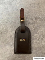 bronzlaşmış deri toptan satış-Yüksek Kaliteli Kişiselleştirilmiş Özel İlk Bagaj Etiketleri sıcak damga Seyahat Aksesuarları Bavul Etiketi İş Çanta Etiketler Tanned Deri Seyahat Etiketi