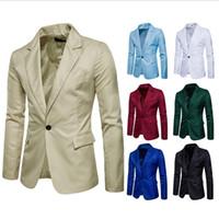 one button fitted blazer toptan satış-Moda Marka Tasarımcısı erkek Giyim Blazer Erkekler Bir Düğme Slim Fit Kostüm Homme Rahat Takım Elbise Ceket Eril Blazer Boyutu M-3XL