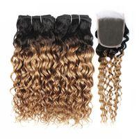 sarışın brazilian dalga saç paketleri toptan satış-Kisshair 1B 27 Ombre Bal Sarışın Kapatma Su Dalgası ile Insan Saç Örgü 3/4 Demetleri ile Dantel Kapatma Brezilyalı Bakire Saç