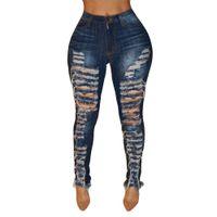 jeans ajustados desgastados al por mayor-Pantalones vaqueros de cintura alta para damas Agujero Pantalones delgados de mezclilla Pantalones delgados Tallas grandes Jeans Boyfriend Ripped Vintage Pantalones Streetwear Capri