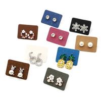 affichage de carte d'emballage de boucle d'oreille achat en gros de-100pcs kraft papier bijoux carte goujons affichage cartes set cartes d'emballage