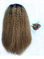 Wholesale wig curly 27 resale online - L Malaysian Kinky Curly Blonde Ombre Human Hair Wigs Glueless Lace Front Wigss For Black Women b Natural Curly Braided Full Lace Wi