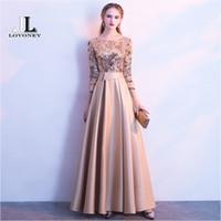 goldene linie kleid großhandel-Lovoney Eine Linie Pailletten Goldenes Abendkleid Lange Prom Party Kleider Abendkleid Formelle Kleidung Frauen Elegante Robe De Soiree M254 Y190525