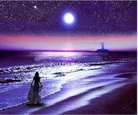 Wholesale night view painting for sale - Group buy Full Square Round Drill D DIY Diamond Painting quot Seaside night view quot Embroidery Cross Stitch Mosaic Home Decor Art Experience toys GiftA0635