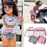 chalecos de manga larga para bebés al por mayor-2019 New Toddler Girl Clothes Set Summer See Through Coat Crop Top Shorts Baby Girls abrigo de manga larga + chaleco + pantalones cortos trajes