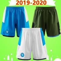 calções de futebol azul venda por atacado-Tailândia 19 20 Serie A Nápoles Napoli 2019 2020 shorts de futebol Adulto mens home azul longe calças de futebol branco AMSIK L.INSIGNE PLAYER