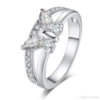 Wholesale beautiful butterfly rings resale online - 2Pcs Fashion Classic Butterfly Shiny CZ Silver Color Ring Size Beautiful Women Jewelry