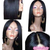 cabelo textura yaki venda por atacado-Yaki em linha reta 13x6 perucas dianteiras do cabelo humano para as mulheres com cabelo do bebê luz yaki textura