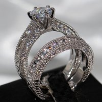 Wholesale celtic couples jewelry for sale - Group buy Pop Goood4store Vecalon Fashion Retro Jewelry KT White Gold Filled Round Cut Topaz Gemstones CZ Crystal Enternity Bridal Couple Ring Set