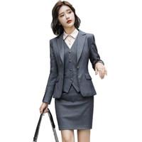 jupe uniforme de travail achat en gros de-Automne Hiver Mode formelle 2 Pièces ensemble Gris Blazer Femmes Jupe D'affaires Costumes Bureau Élégant Designs OL Style