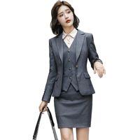 Wholesale work uniform skirts online – ideas Fall Winter Formal Fashion Pieces set Grey Blazer Women Business Skirt Suits Elegant Office Uniform Designs OL Style Work