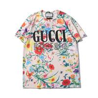 tişörtlü baskılı isim toptan satış-Moda Lüks Mektupları İl Adı Moda Tasarımcısı Erkek Kadın T Gömlek Giyim Kısa Kollu Çiçek Desen En Renkli Tees yazdır