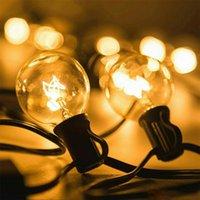 ingrosso lampadine di natale bianche-Patio Luci G40 partito del globo della luce della stringa di Natale, bianco caldo 25Clear Vintage Bulbi 25ft, decorativo all'aperto Backyard Garland