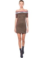 Wholesale back zipper bodycon for sale – dress Trendy F Letter Print Women Dress Summer Short Sleeve Flat Off Shoulder Slim Dresses Zipper Back Bodycon Skirt Fashion Women Clothing C42410