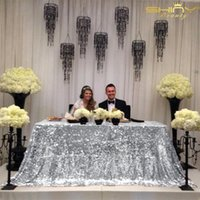 Wholesale embroidered tablecloth free shipping for sale - Group buy Black Silver x120inch Square Sequin Tablecloth dining Table Cover sparkling Sequin Table For Wedding party a105 T8190620