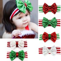 cintas vermelhas de lantejoulas venda por atacado-6 cores de Natal dos bebés Glitter Carneiras verdes miúdos vermelhos listrados Sequins Bow Faixa de Cabelo Crianças Xmas Headband Cabelo Acessórios M587
