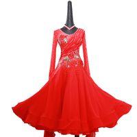 ingrosso costumi di ballo di alta qualità-Ballroom Dance Dress For Women Abiti da competizione di alta qualità Modern Waltz Tango Standard Ballroom Costume bianco MD1105