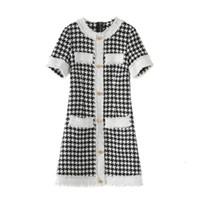 elegante houndstooth kleider großhandel-Banulin 2019 Neue Mode Sommerkleid Frauen Elegante Vintage Hahnentritt Kleider Damen Runway Jacquard Strickkleid